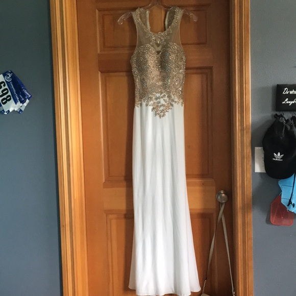Tiffany Designs Other - White and gold prom dress